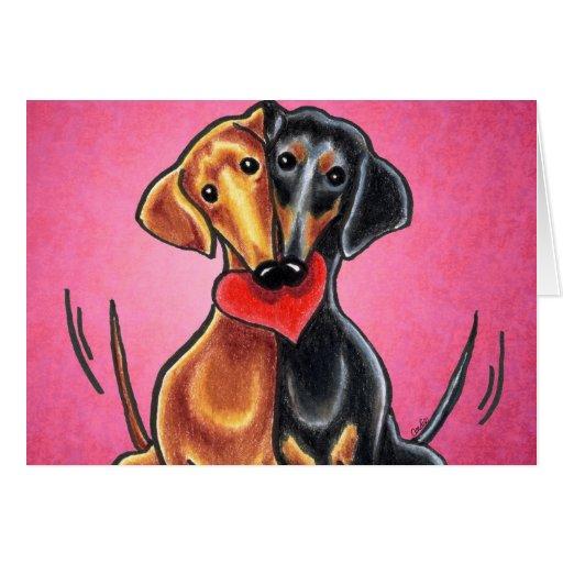 Dachshunds in Love Off-Leash Art™ Custom Greeting Cards