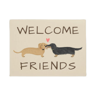 Dachshunds Kiss Welcome Mat with Custom Text