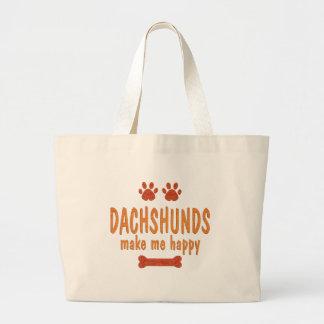 Dachshunds Make Me Happy Tote Bags
