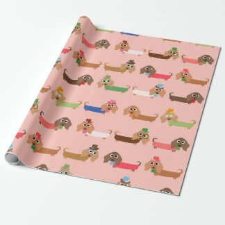 Dachshunds on Pink Wrapping Paper