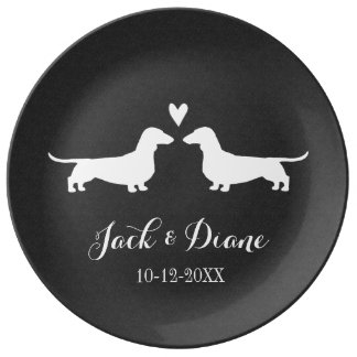 Dachshunds Wedding Couple with Custom Text Plate
