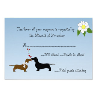 Dachshunds Wedding Response Card Personalised Announcement