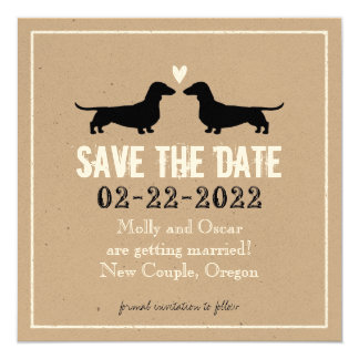 Dachshunds Wedding Save the Date 13 Cm X 13 Cm Square Invitation Card
