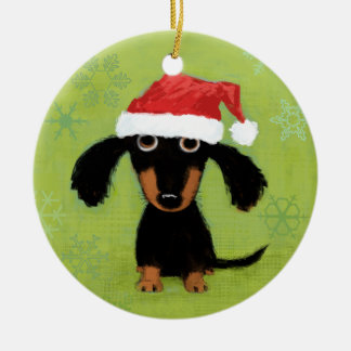 Dachsie Clause Christmas Ornament