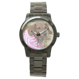 Dachsund dog oversized fashion watch