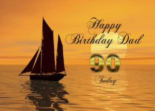 Dad 90th Sunset Yacht Birthday Card