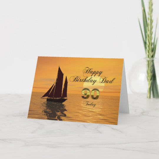 Dad 90th Sunset Yacht Birthday Card
