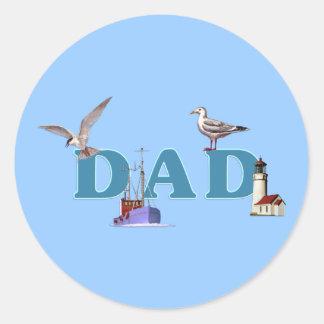 Dad Ahoy Round Sticker