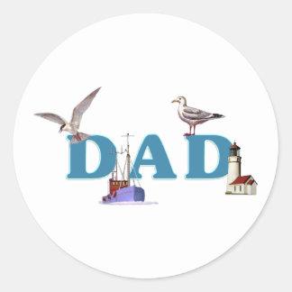 Dad Ahoy Round Stickers