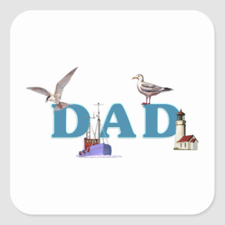 Dad Ahoy Square Sticker
