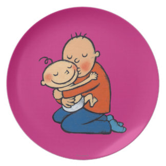 Dad and Baby Hugging Dinner Plate