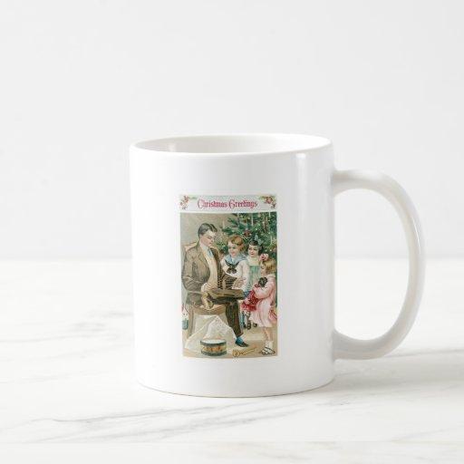 Dad and Children on Christmas Coffee Mugs