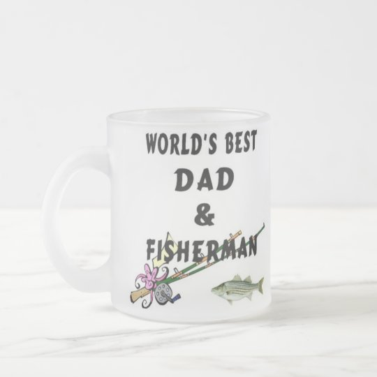 Dad And Fisherman Frosted Glass Coffee Mug
