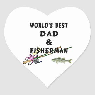 Dad and Fisherman Heart Sticker