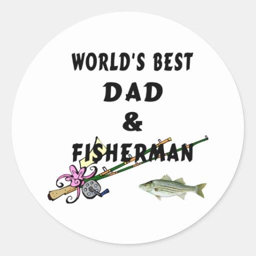 Dad and Fisherman Round Sticker