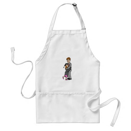 Dad and girl graduate apron