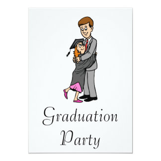 Dad and girl graduate 13 cm x 18 cm invitation card