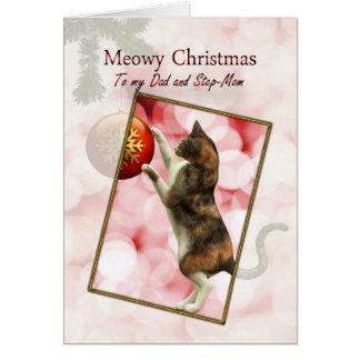 Dad and Step-mom, Meowy Christmas Greeting Card