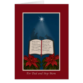 Dad and Step Mom, Open Bible Christmas Message Greeting Card