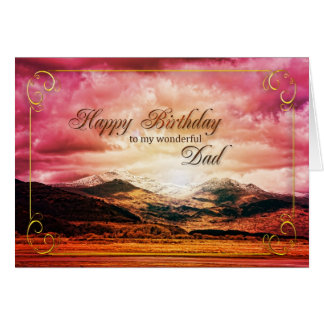 Dad birthday, Sunset over the mountains Card