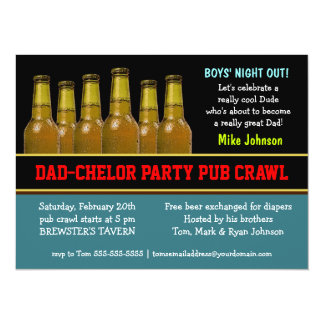 Dad-chelor Party Pub Crawl Diaper Beer Invitations