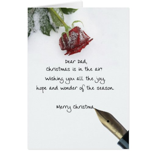 Dad christmas letter on snow rose paper cards