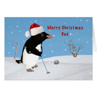 Dad, Christmas, Penguin Playing Golf Greeting Card