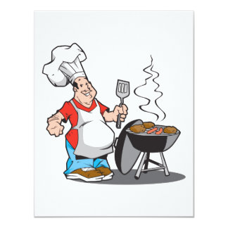 dad cooking on the grill 11 cm x 14 cm invitation card