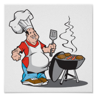 dad cooking on the grill print
