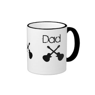 Dad, crossed black guitars ringer mug