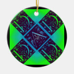 Dad Fancy Text Blue and Green Ornament