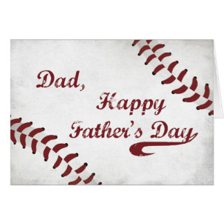 Dad Father's Day Large Grunge Baseball, Sport Greeting Card