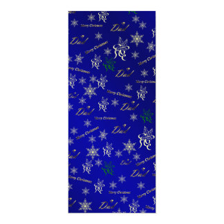 dad golden happy christmas text in blue 10 cm x 24 cm invitation card