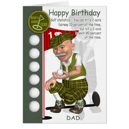 Dad Golfer Birthday Greeting Card With Humour