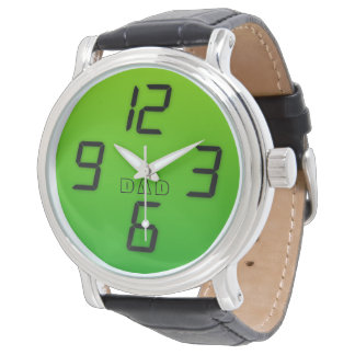 Dad green faux led effect retro style watch