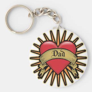 Dad Heart Tattoo Basic Round Button Key Ring
