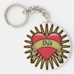 Dad Heart Tattoo Key Chain