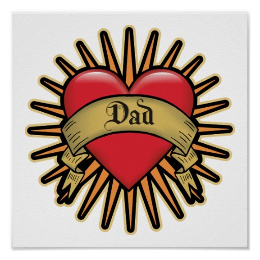 Dad Heart Tattoo Poster
