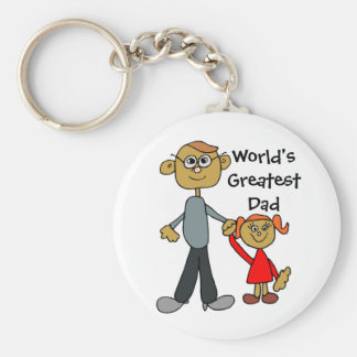 Dad Holding Daughters Hand, World's Greatest Dad!! Basic Round Button Key Ring