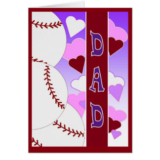 DAD  I Love You > Than You Love Baseball Valentine Greeting Card