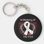 Dad - In Memory Lung Cancer Heart Basic Round Button Key Ring