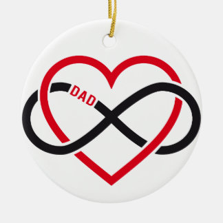 Dad infinity heart for Father's day Round Ceramic Decoration