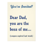 Dad is Boss of Me Personalized Invite