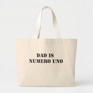 dad is numero uno canvas bags