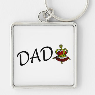 Dad (King) Silver-Colored Square Key Ring
