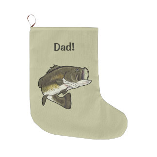 Dad: Largemouth Bass Large Christmas Stocking