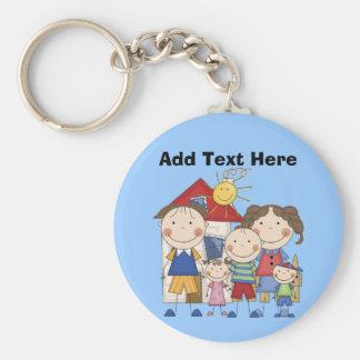 Dad, Mom, Big Boy, Med Girl, Small Boy Family Basic Round Button Key Ring
