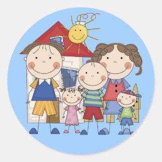 Dad, Mom, Big Boy, Med Girl, Small Boy Family Round Sticker