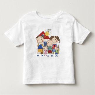 Dad, Mom, Big Boy, Med Girl, Small Boy Family Tshirt