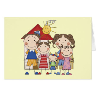 Dad, Mom, Big Sis, Middle Sis, Little Brother Greeting Card